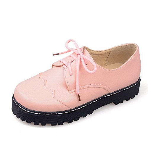 VogueZone009 Women's PU Low-Heels Round Closed Toe Solid Lace-up Pumps-Shoes Pink