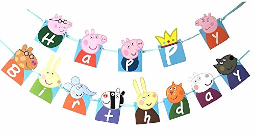 YIBAOLAI Birthday Banner Peppa Pig Birthday Decoration Flag Birthday Party Supplies Decoration Banner
