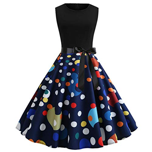 - Pervobs Dress Women Vintage Printing Bodycon Sleeveless Casual Evening Party Prom Swing Dress with Sashes...(S, Z06-Multicolor)
