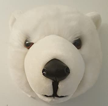 Amazon Com Stuffed Mounted Polar Bear Plush Head 10 Inch Diameter
