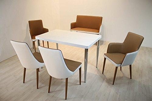 Tischgruppe Madrid mit Schalensitz in Lederimitat Braun Modern