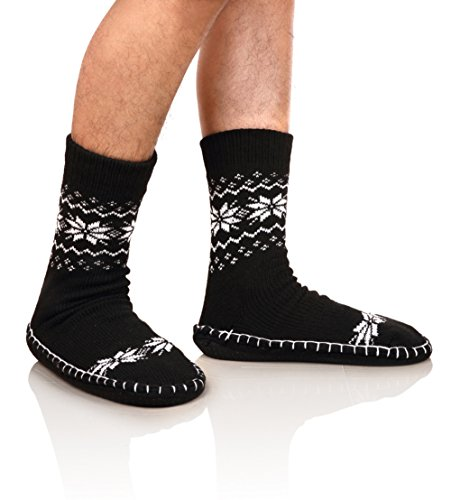 DoSmart Men's Winter Non-Skid Knit Slipper Socks Indoor Floor Stocking Shoes Home Socks (One Pair Black Snowflake) - Mens Slipper Sock