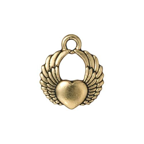 TierraCast 22K Gold Plated Pewter Winged Heart Charm 17.5mm (1) ()