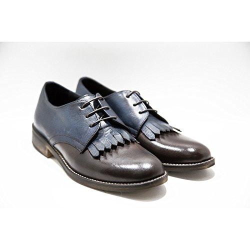 Stringate Testa Italy in Calzature Frangia a Pelle Pelle Fatte Blu Shoes Mano Derby con Vera Scarpe Moro Up Lace Italiane Woman Donna e Made di 100 rP4XqS8xr