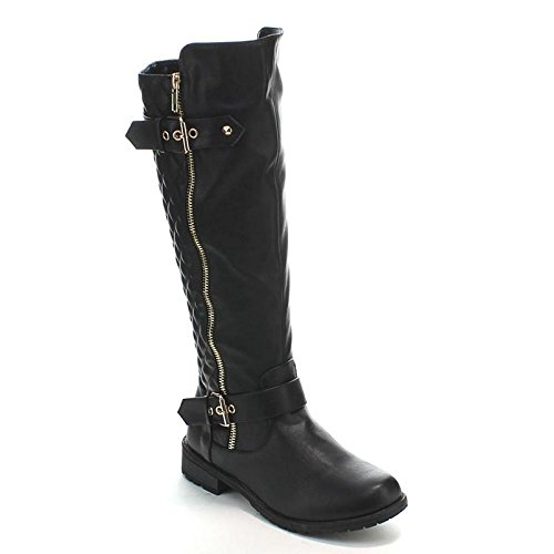 Forever Link Women's MANGO-21 Quilted Zipper Accent Riding Boots, Black, (Women Black Boots)