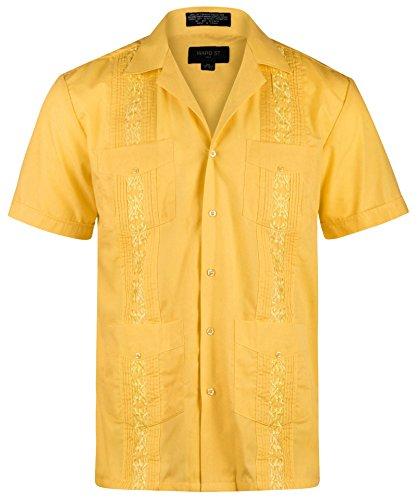 - Ward St Men's Short Sleeve Cuban Guayabera, M, 15-15.5N, Yellow