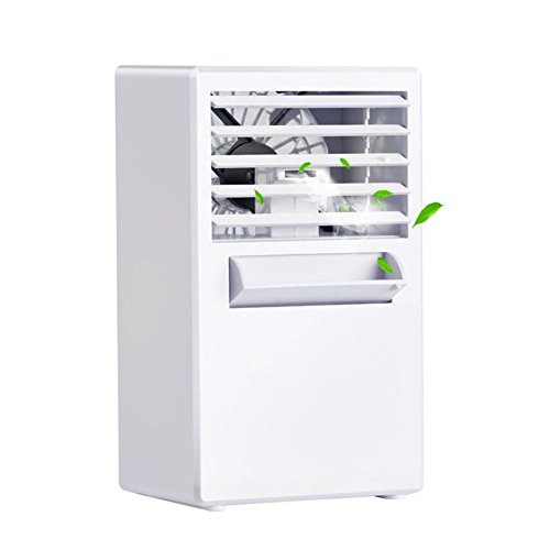 KIBER Mini Personal Air Conditioner Fan Portable Cooler Misting Spray Desktop Table Cooling Fan Humidifier Bladeless Quiet for Room, Bedroom, Office, Dorm, Home, Outdoor (White)