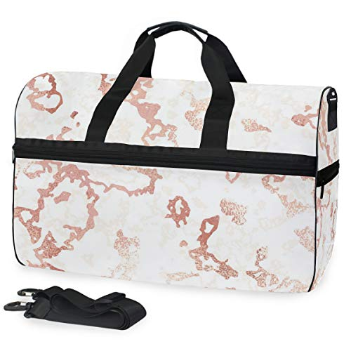 Time Marble Pattern Large-Capacity Travel Bag Fitness Sports Lightweight Travel Bag Professional Makeup Train Box Cosmetic Bag Brush Organizer Adjustable Strap