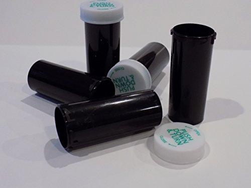 - Plastic Solid Black Opaque Cannabis Prescription Vials/Bottles 50 Pack w/Caps 8 Dram Size-Pharmaceutical Grade-Same Sold to Professional Pharmacies, Doctors, Labs, Dispensaries