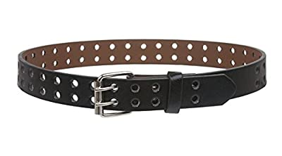 """BBBelts Boys 1"""" Black Leather 2 Hole Rows Double Prong Silver Roller Buckle Belt"""