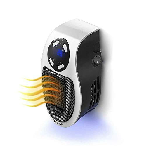 Fdgnb Wall-Mounted Space Heater 500W Personal Mini Fan Heater Ceramic Small Heater Adjustable Thermostat & Tip Over Protection, White, for Home, Office, Bedroom