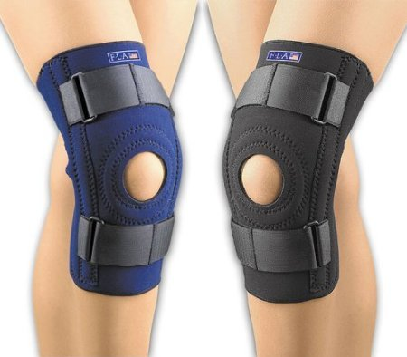 FLA Orthopedics FL37-103MDNVY SAFE-T-SPORT Neoprene Patella Stabilizing Knee Support with Removable Horseshoe - Size- Medium ()