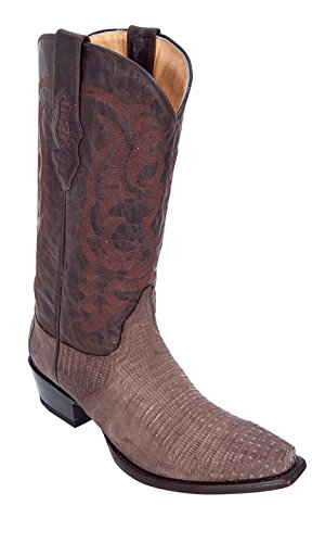 Men's Snip Toe Sanded Brown Genuine Leather Teju Lizard Skin Western Boots - Exotic Skin Boots