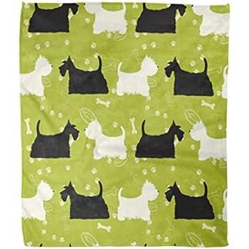Amazon.com: Golee Throw Blanket Green Pattern Dogs