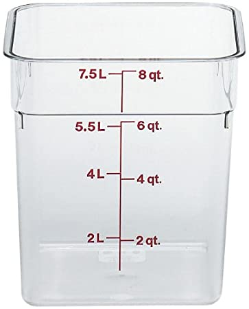 Cambro 2SFSCW135 Food Storage Container, 2 Quart, 7-1/4 x 7-1/4 x 3-7/8, Polycarbonate