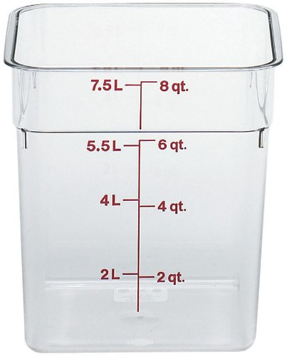 Cambro Camwear Polycarbonate Square Food Storage Container, 8 Quart (This does not come with a lid)