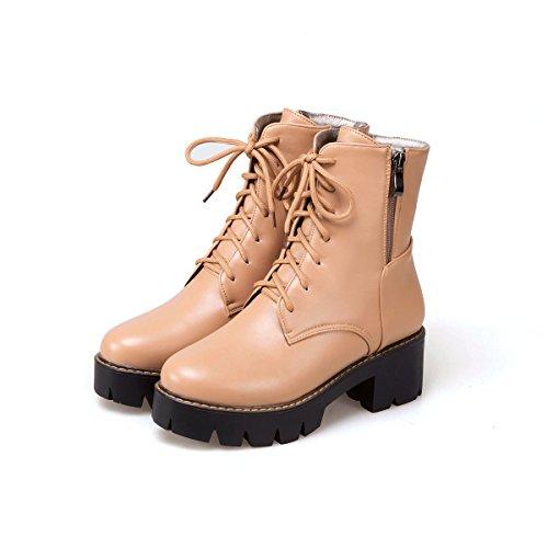 Head Short Platform Women's amp;X Round Heels qin Boots Shoes apricot Heel Ankle Block WnpY0qvwg