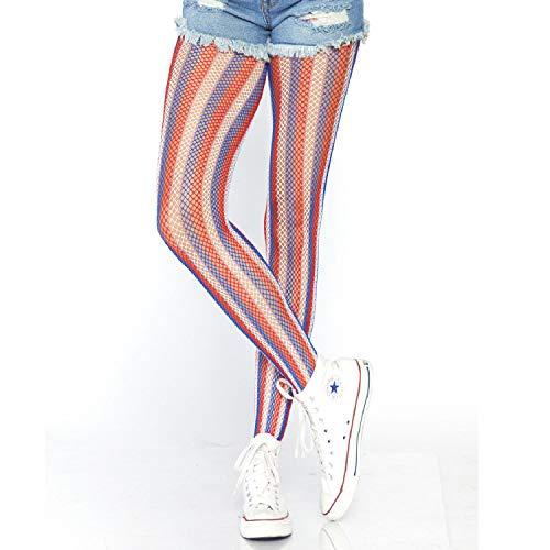 Leg Avenue Women's Lurex Shimmer Striped Fishnet Tights, Red/White/Blue, O/S -