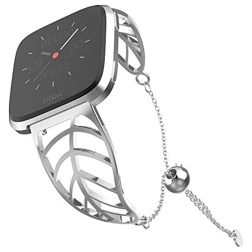 - UooMoo Band Compatible with Fitbit Versa, Leaf Shape Stainless Steel Bracelet Women Replacement for Fitbit Versa Smart Watch-Silver
