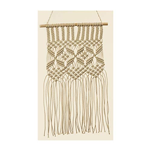 Whole House Worlds The Naturally Modern Macrame Wall Hanging, Navajo Inspired, Dynamic Chevron Pattern, Artisan Crafted, Knotted, Fringed, 100% Cotton, Wooden Dowel, Approx 2 Ft Tall -