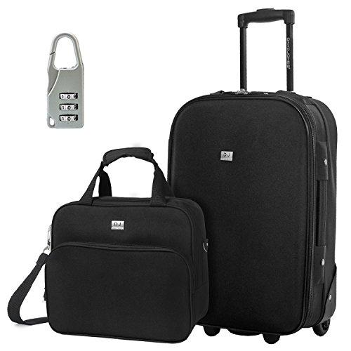 arry-on & Travel case Luggage Set, 2 Piece - BLACK (BA-1002-2RPV-BLACK) ()
