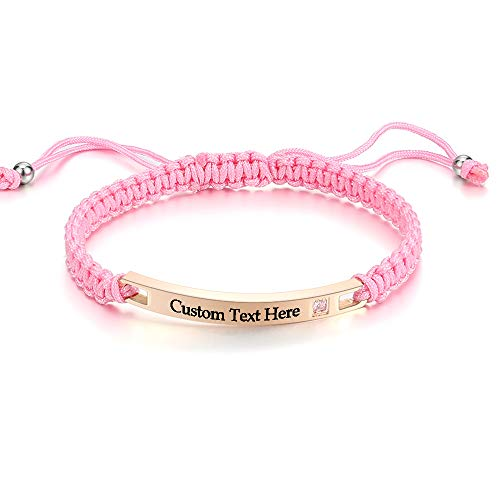 GAGAFEEL Custom Engraved Personalized Crystal Bracelet Men Women Stainless Steel Wrist Bangle Couple Gift (Style 3-Pink)