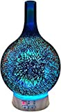 Essential Oil Diffuser Aromatherapy Diffusers for Therapeutic Oils - Ultrasonic 3D Glass Vase Cover & LED Light Display…