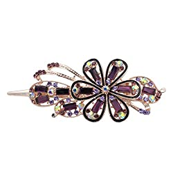 Totoroforet Ladies/ Women Forget-Me-Not Forever Crystal Glasses Brass Based Hairclips/ Barrette Large Size-Noble Purple