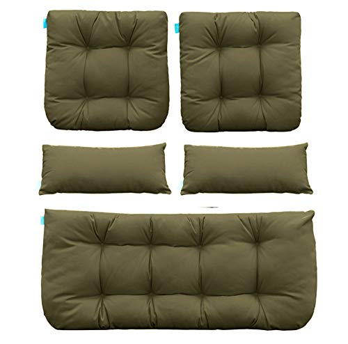 QILLOWAY Outdoor Patio Wicker Seat Cushions Group Loveseat/Two U-Shape/Two Lumbar Pillows for Patio Furniture,Wicker Loveseat,Bench,Porch,Settee of 5 (SAGE) (Replacement Furniture Wicker Patio Cushions)