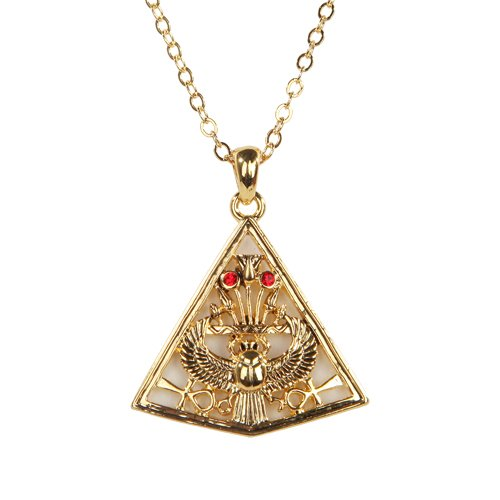 Egyptian Pyramid Golden Pewter Necklace Jewelry- Mystica Collection