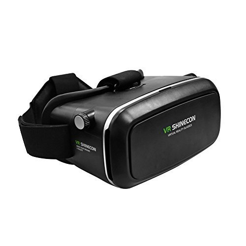 VR Shinecon Headset 3D Viewer Glasses, Virtual Reality Box Movies Games Helmet Google Cardboard Upgraded for IOS iPhone 6 6s plus, Android Samsung Galaxy S5 S6 S7 Edge Note 4 5