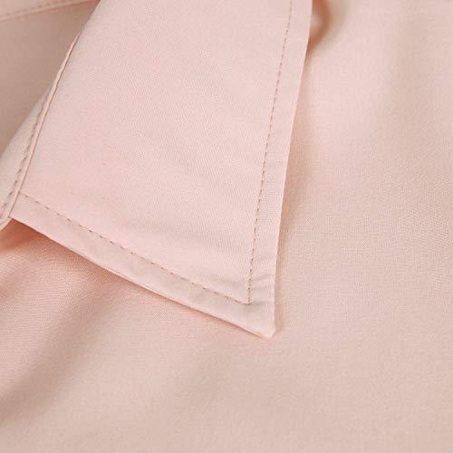 Boutonnage Blouse Spcial Mode Manches Fit Revers Elgante Office Haut Longues Slim Printemps Chemise Shirt Simple Affaires Style Femme Automne Uni Rose Loisir Top Manche 4xvqwWzZ