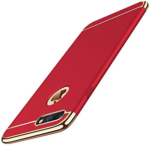 : KUMTZO Compatible for iPhone 8 Plus/7 Plus Case,Fashion & Luxury 3 in 1 Ultra Thin Slim Hard Case Coated Non Slip Matte Surface Electroplate Frame Cover for iPhone 8 Plus/7 Plus 5.5 inch_Red