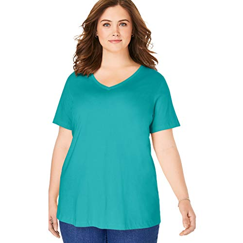 Woman Within Women's Plus Size Perfect V-Neck Tee - Waterfall, 6X