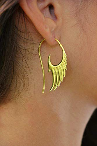 Cocoroots Women Cocoroots Women Tribal Brass Earring Angel Wing Spiral Brass or Silver Hooks