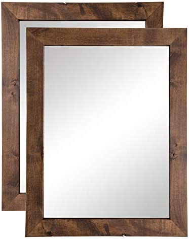 Drakestone Designs Bathroom Vanity Mirror, Modern Farmhouse, 24×31 inches Walnut Finish, 2