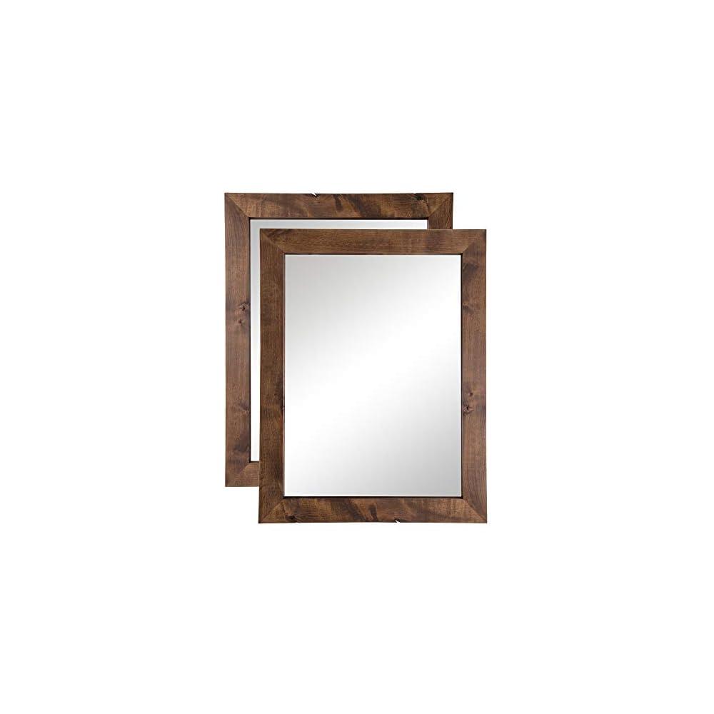 Drakestone Designs Bathroom Vanity Mirror, Modern Farmhouse, 24x31 inches (Walnut Finish, 2)