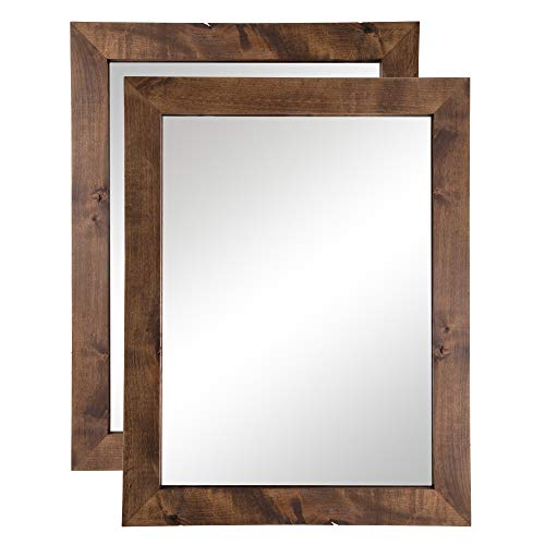 Drakestone Designs Bathroom Vanity Mirror, Modern Farmhouse, 24x31 inches (Walnut Finish, -