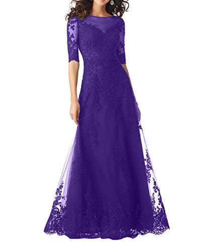 Langes Dunkel Spitze Partykleider Brautmutterkleider Charmant Abendkleider Festlichkleider Formalkleider A Damen Lila Linie Bodenlang F5aqSqP