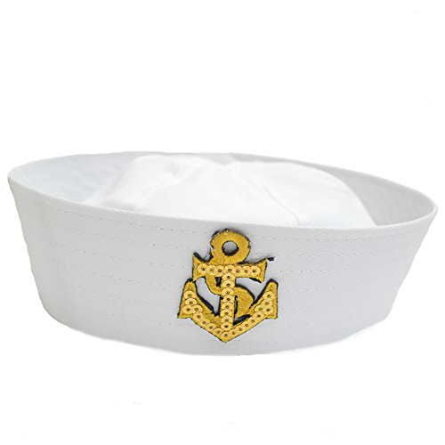 Baby Party Accessory White Sailor Hat With Gold Anchor for Sailing Nautical Party Cosplay Costume (White)