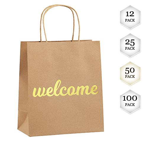 Welcome Bags for Wedding Guests - High Quality Kraft Paper Bags Bulk Perfect as Wedding Welcome Bags for Hotel Guests - Excellent to Present Wedding Favors for Guests (50-Pack) -
