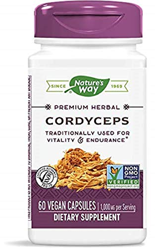 Natures Way Cordyceps, 500 Milligrams per Cap, 60 Vegetarian Capsules. Pack of 2 bottles