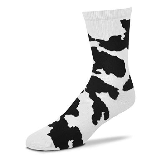 Cow Print Socks - FBF Originals For Bare Feet Black White Cow Print Socks, Adult