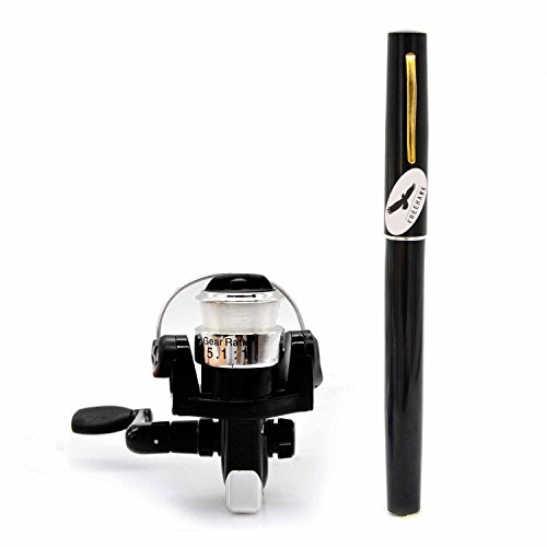 PiscatorZone Mini Pocket Pen Fishing Rod Set Carbon Fiber Telescopic Fishing Pole Pocket Travel Fishing Kit Sea Fishing Rod+ 2000 Aluminum Spinning Fishing Reel + Fishing Line (Black)