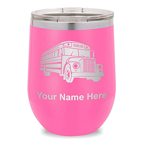 (Wine Glass Tumbler, School Bus, Personalized Engraving Included (Pink))