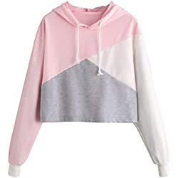 Rambling 2018 New Women Teen Girls Hoodie, Fashion Color Block Long Sleeve Hoodies Crop Top Sweatshirt