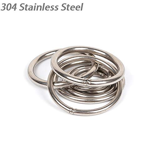Ochoos Wholesale! 100pcs/LOT 304 Stainless Steel Rigging Hardware Forged Welded Round O Ring Wire Diameter 5 x Ring Diameter 50mm - (Specification: 5 X 50)