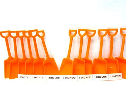 Small Toy Plastic Shovels Orange, 12 Pack, 7 Inches Tall, 12 I Dig You Stickers by Jean's Plastics