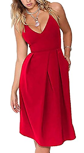 Red V Sleeveless Party Jaycargogo Pleated Women Neck Casual Swing Fit Cocktail Dress FqwqfBnx