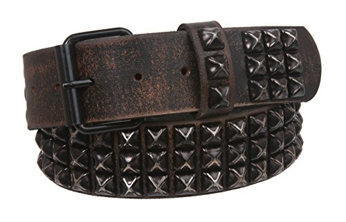 Studded Vintage Jeans - Snap On Oil Tanned Three Row Punk Rock Star Metal Distressed Black Studded Vintage Full Grain Cowhide Leather Antique Hammered Belt, Black | 34